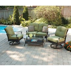 4 Piece Patio Set Chairs Loveseat Table Green Outdoor Furniture Pool Deck  NEW. Better Homes And Gardens ...