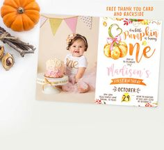 Pumpkin invitation with photo girl first by Kattygoodparty on Etsy