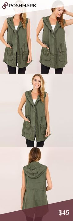 "Military Trench Vest ❤️ BUNDLES  ❌ NO TRADES  ❌ NO Low balling!   * MEASUREMENTS: - Size: Small - Length: 30.25"" Approx - Bust: 39"" Approx •  - Size: Medium - Length: 31"" Approx - Bust: 41.75"""" Approx •  - Size: Large - Length: 31.5"" Approx - Bust: 42.5"""" Approx  * MATERIAL: - 100% Cotton Jackets & Coats Vests"