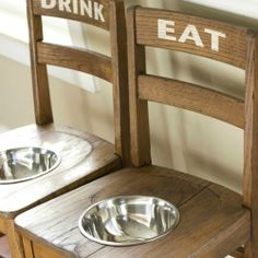Recycle old chairs by turning them into an elevated dog feeding station.  Easy afternoon project.