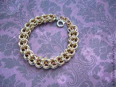 """Браслет """"Sirenia"""" - серебряный,золотой,браслет,кольчужное плетение,изящный"""