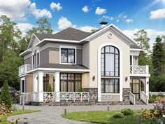 """Голицын""- изящный коттедж с двусветной гостиной (398A), Alfaplan.ru Craftsman Style Bungalow, Bungalow House Plans, Bungalow House Design, Dream House Plans, Modern House Design, Contemporary House Plans, Modern House Plans, Small House Plans, Beautiful House Plans"