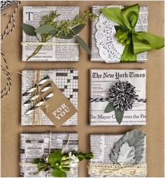Easy & Creative Gift Wrapping Ideas - newspaper gift wrap with Pom Pom - Creative Gift Wrapping, Present Wrapping, Creative Gifts, Unique Gifts, Wrapping Papers, Cute Gift Wrapping Ideas, Creative Gift Packaging, Diy Wrapping, Simple Gifts