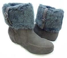 Amazon.com: Buckled Faux Fur Cuff Flat Bootie Vegan Womens Grey: Shoes **ONLY $10.00**