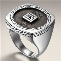 John Hardy Men's Classic Chain Sterling Silver Ancient Coin Ring