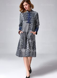 Dress -  22.39 - Cotton Blends Solid Long Sleeve Mid-Calf Vintage Dresses  (1955121954 ccafe2c8fce