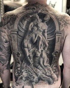 One of the most detailed bizarre art tattoos we have ever seen. Tattoo artist is Via tattooideas tattooist tattoos artshare spectacular surrealart surreal bizarre bizarreart Religious Tattoo Sleeves, Religious Tattoos, Back Tattoos For Guys, Full Back Tattoos, Man Back Tattoo, Tattoo Sleeve Designs, Sleeve Tattoos, Greek Mythology Tattoos, Tattoo Henna