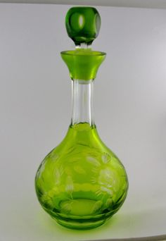 Nachtmann Crystal Decanter Lime Cut to Clear Etched Floral Paneled Thumbprint   eBay