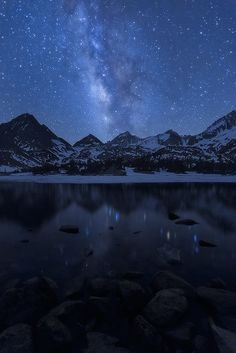 """""""Under the Blue Sky"""" - Crystal blue skies with a vivid display of the Milky Way in the Eastern Sierras ~David Thompson"""