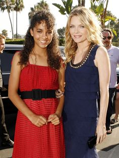 """Michelle Pfeiffer and her daughter Claudia attend the movie premiere of """"Stardust"""", 2007.  In 2003, Pfeiffer began to turn down film roles and chose to spend more time with her family.  She spent almost four years away from Hollywood while raising her kids."""