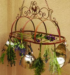 Rustic Metal Oval Rooster Kitchen Pot Hanger--search the exact term and it'll… Tuscan Decorating, French Country Decorating, Decorating Ideas, French Country Kitchens, Country French, French Kitchen, Country Chic, Tuscan Kitchens, Kitchen Country