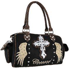 Rhinestone Cross Cowgirl Satchel Handbag Black