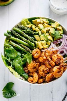 Blackened Shrimp, Asparagus and Avocado Salad with Lemon Pepper Yogurt Dressing . Ingredients Blackened Shrimp: 500 g raw peeled large shrimp, (King Prawns), tails removed 2 cloves of. Healthy Salad Recipes, Healthy Snacks, Healthy Eating, Detox Recipes, Avocado Salad Recipes, Healthy Spring Recipes, Healthy Cafe, Shrimp Salad Recipes, Nutritious Meals