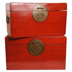 19th Century Red Lacquer Chinese Document Boxes