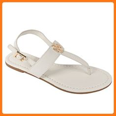 Tory Burch Laura Flat Sandal with Strap Style 36487 Ivory Gold (8.5) (*Partner Link)