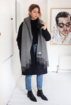Acne scarf, acne Jensen boots, navy coat.