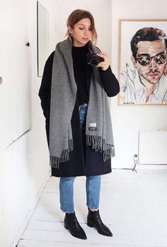 Acne scarf, acne Jensen boots, navy coat.