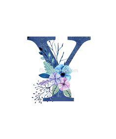 Monogram Y Icy Winter Bouquet von floralmonogram - Y - Dessin Letter H Design, Alphabet Letters Design, Alphabet Art, Alphabet And Numbers, Alphabet Wallpaper, Graffiti, Winter Bouquet, Free Printable Art, Floral Letters