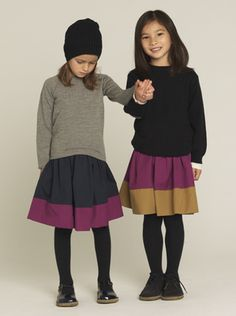 Colour blocking for kiddies.  Now that's an easy skirt to make.