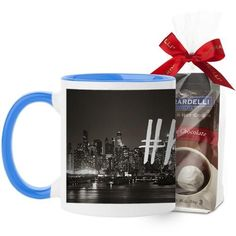 Hustle Mug, Light Blue, with Ghirardelli Premium Hot Cocoa, 11 oz, White