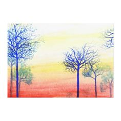 Sunset with Blue Trees Gallery Wrap Canvas