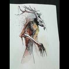 Leszy Available design - _isatattoo_ Tattoo Sketches, Tattoo Drawings, Slavic Tattoo, Animal Skulls, Dark Art, Character Art, Cool Art, Creatures, Folklore