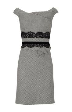 Lace trim tailored dress