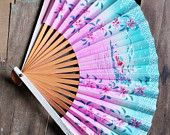 This Japanese fan is so vivid! A hand painted Island scene in vivid pinks and turquoise. And such bold colors for Spring and Summer. Antique Fans, Vintage Fans, Vintage Paper, Painted Fan, Hand Painted, Hand Held Fan, Hand Fans, Painted Island, Asian Tea