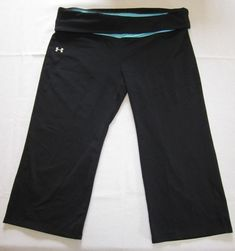 Under Armour Black and Teal Cropped Yoga Pants All Season Gear Size L #Underarmour #CaprisCropped