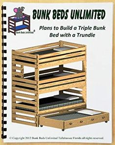 Triple Bunk DIY Woodworking Plan to Build Your Own Extra-Tall with Trundle Bed and Hardware Kit for Bunk and Trundle to Make a Quadruple Bunk Bed That Sleeps Four (Wood NOT Included) Bunk Beds Small Room, Safe Bunk Beds, Toddler Bunk Beds, Cool Bunk Beds, Kid Beds, Small Rooms, Triple Bunk Beds Plans, Bunk Bed Plans, Bunk Bed With Trundle