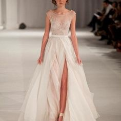 2015-Paolo-Sebastian-Sheer-Chiffon-Beach-Wedding-Dresses-High-Slit-A-Line-Cap-Sleeves-Beaded-Bridal-Gowns-2015-0
