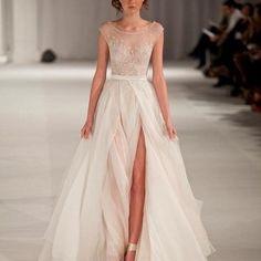 2015-Paolo-Sebastian-Sheer-Chiffon-Beach-Wedding-Dresses-High-Slit-A-Line-Cap-Sleeves-Beaded-Bridal-Gowns-2015-0