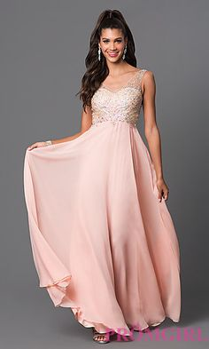 Sleeveless V-Neck Chiffon Prom Dress by Elizabeth K at PromGirl.com