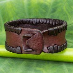 Men's Fair Trade Leather Wristband Bracelet - Thai Wrap | NOVICA