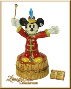 Buy this adorable Limoges Mickey Mouse Band Leader Disney Box by Artoria Limoges, made in Limoges, France. Shop the largest selection of Rare Disney Limoges boxes and Limoges boxes in every theme for your collection or the perfect gift. Antique Music Box, Mickey Mouse And Friends, Dollar Store Crafts, Little Boxes, Pill Boxes, Decorative Boxes, Decorative Objects, Trinket Boxes, Small Gifts