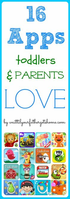 16 Apps toddlers & parents love via www.waittilyourfathergetshome.com #apps #ipad #iphone #educational #games #toddler