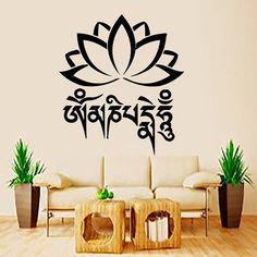 Wall Decal Indian Yoga Namaste Words Lotus Flower Buddha Ganesha Vinyl Sticker Decals Wall Decor Home Interior Design Art Mural MN778