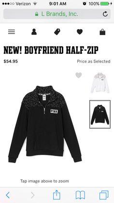 VS Pink Boyfriend Half-Zip in Black/Cheetah Print in M