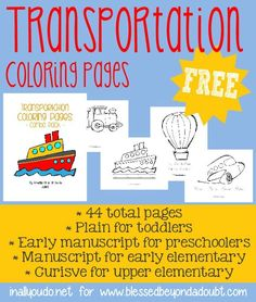 FREE Transportation Coloring Pages for all ages with handwriting practice.