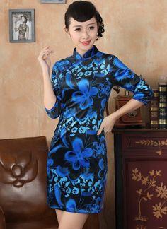 Classic Black Pleuche Blue Flowers Print Qipao Dress for Winter - iDreamMart.com