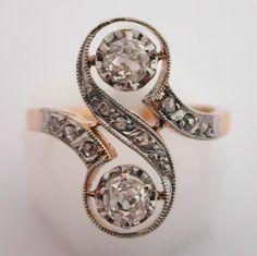 """Bague ancienne """"toi et moi"""" diamants 206"""