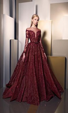 Ziad Nakad 2016 New Fashion Burgundy Sparkly Detail Long Sleeve Prom Dresses Puffy Skirt Long Luxury Embroider Dubai Arabic Evening Gown . Collection Couture, Dress Collection, Style Couture, Couture Fashion, Luxury Fashion, Elegant Dresses, Pretty Dresses, Formal Dresses, Wedding Dresses
