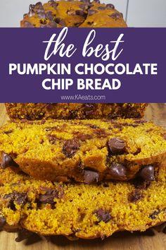 Best Pumpkin Bread Recipe, Pumpkin Chocolate Chip Bread, Pumpkin Recipes, Fall Recipes, Fall Snacks, Dessert Bread, Pumpkin Dessert, Vegetarian Chocolate, Yummy Food