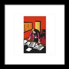Teacher Depressed Table Classroom Woodcut Framed Print by Aloysius Patrimonio.   Illustration of a teacher in a classroom depressed looking down with both hands on desk with books notes papers on it with board and chairs in the background done in retro woodcut style. #illustration #TeacherDepressedTable