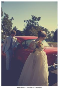 VINTAGE WEDDING WITH RED CAR