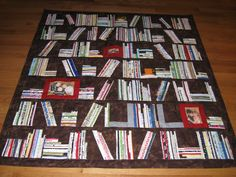 library quilt with selvedge edge 'books' - need to do this!