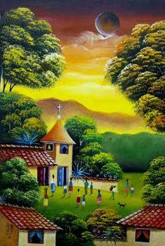 Landscape Art, Landscape Paintings, Mexican Artwork, South American Art, Cuban Art, Caribbean Art, Country Landscaping, Fantasy Paintings, Naive Art