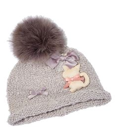 Look at this Gray Cat Pom-Pom Beanie on #zulily today!