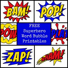 superhero snacks | Superhero Word Bubbles