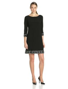 3e7430c79a2 Amazon.com  Tiana B Women s Solid Jersey Dress with Sleeve and Beaded Trim  At